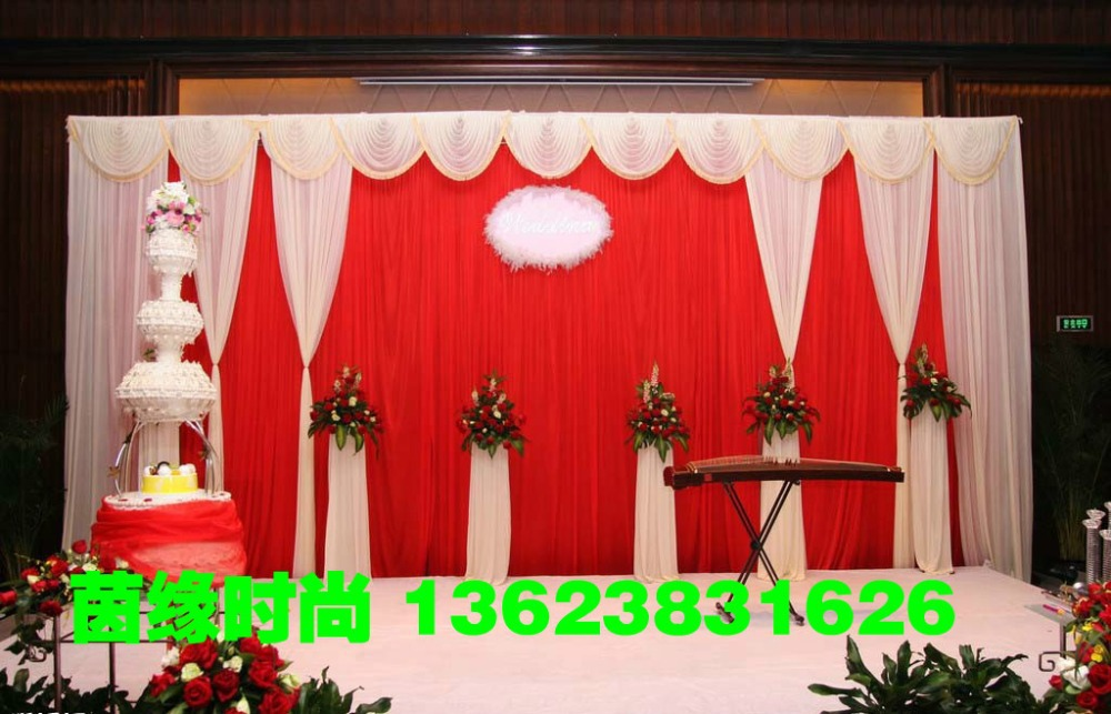 2015 top-sale white&red wedding backdrops ,wedding stage drape color can be customed stage backdrops wedding stage decoration(China (Mainland))