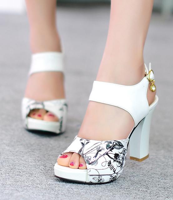 Элегантный женщины сандалии обувь толстый высокая пятки обувь женское открытый носок ...