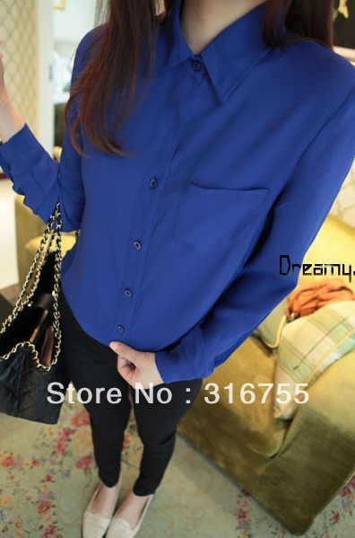 whlosale! 2013 autumn women's solid chiffon shirt long-sleeve plus size girl female, CY-056 - Lenny Wang's store