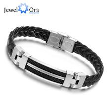 Wholesale Wide Weave Chain Bracelet Men Jewelry 21cm 304 Stainless Steel Men Leather Bracelet (JewelOra BA100617)(China (Mainland))