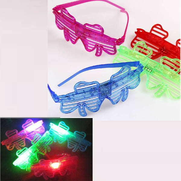 Light Up LED Party Leaves Leaf Shutters Blind Glasses Glowing Flashing Eye Glasses Christmas Wedding(China (Mainland))