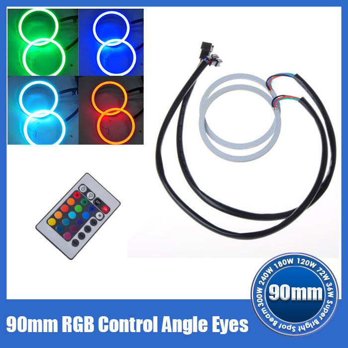 2X 90MM LED Multi-color RGB COB LED Flashing Angel Eye Halo Ring Bulb Remote kit(China (Mainland))