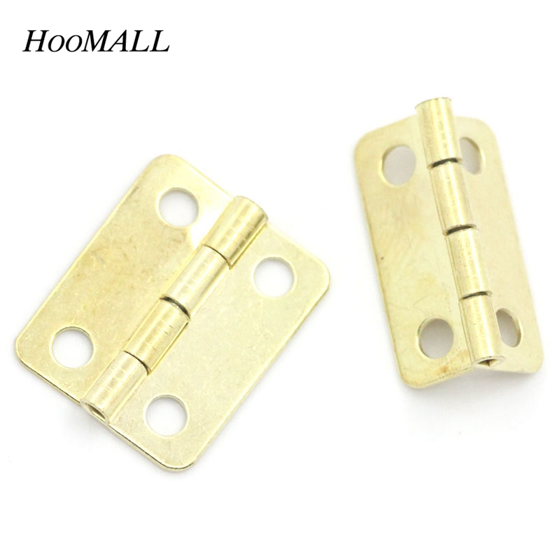"Hoomall 50PCs Cabinet Door Hinge 4 Holes Light Golden Door Hardware 19mmx17mm(6/8""x5/8"") Free Shipping(China (Mainland))"