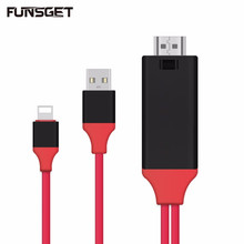 Buy 8 Pin Lightning HDMI Cable 2M HD 1080P HDTV Adapter iphone 7/plus/6s/6s plus iPhone 5/5S iPad, Plug Play,No Setting for $13.99 in AliExpress store