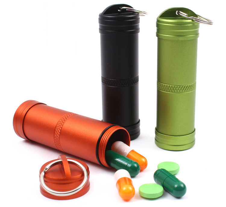 Outdoor Portable EDC Pill Bottle Capsule Waterproof Pill Case for Hiking Camping