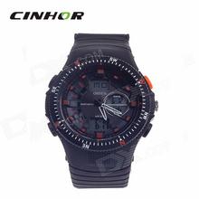 Ohsen AD1303 hombre analógico + Digital Display impermeable reloj negro + naranja ( 1 x CR2025 )