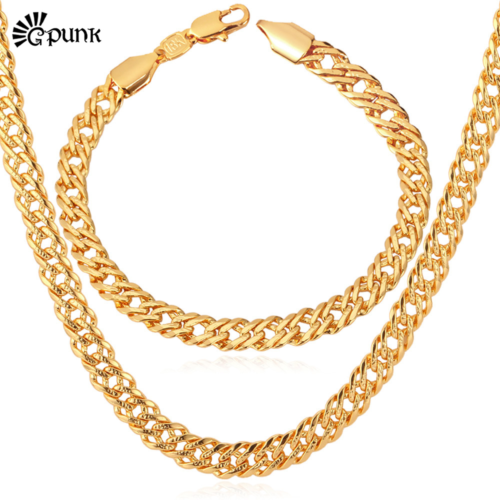 Gold Necklace Set Men Fashion Jewelry Trendy Stamp 18K Gold /Platinum/Rose Gold Plated Necklace Bracelet Party Jewelry Set S533(China (Mainland))