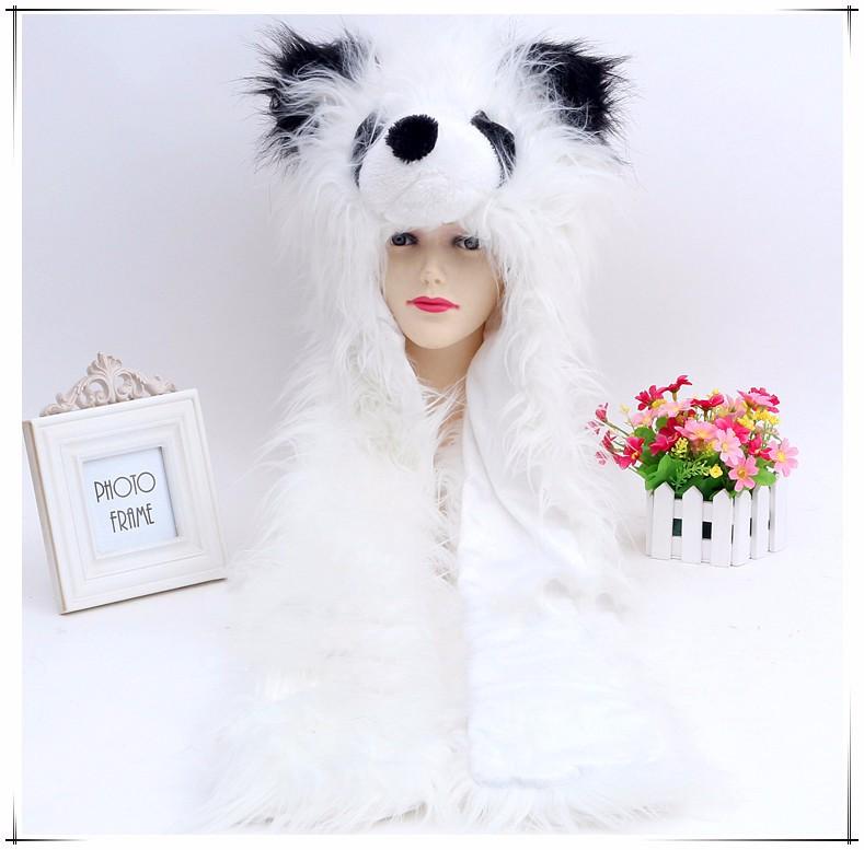 2016 White Fox Hoods Cute Animal Faux Fur Hat Cap Women Lady Winter Stuffed Animal Hat Faux Fur Cute Cartoon Caps Muffler Scarf