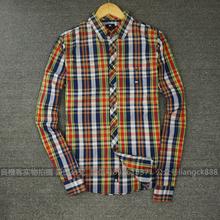 Big discount men shirt brand outlet long sleeve summer style plaid shirts men shirt striped slim fit mens clothing(China (Mainland))