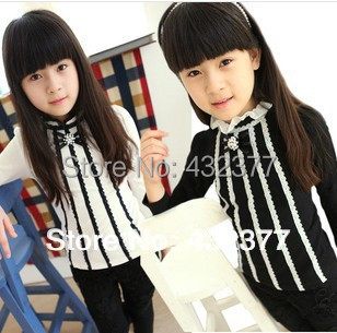 Spring 2014 girls's clothing lace bottoming shirt children's long-sleeved T-shirt kids pearl bow cotton shirt 4T~12 wholesale(China (Mainland))