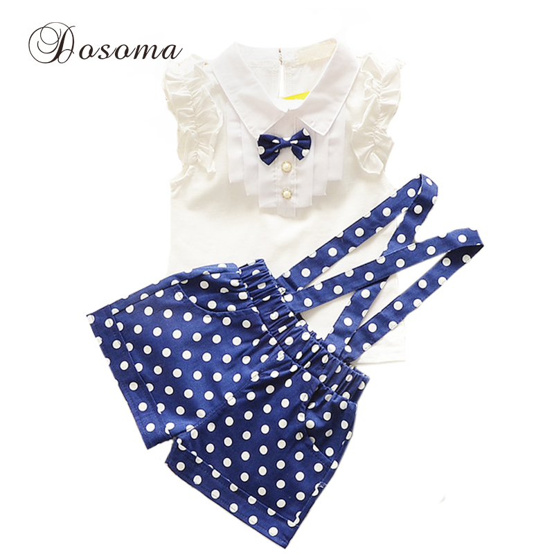 2016 summer style fashion bow t shirt+dot overalls two pieces baby toddler girl clothing clothes bodysuits new born cotton set(China (Mainland))