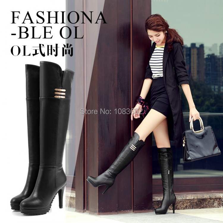 2014 New Big Size 33-41 Black Bottom High thin heels Pumps Platform Knee Riding boots Womens Ladies Boots 866-6