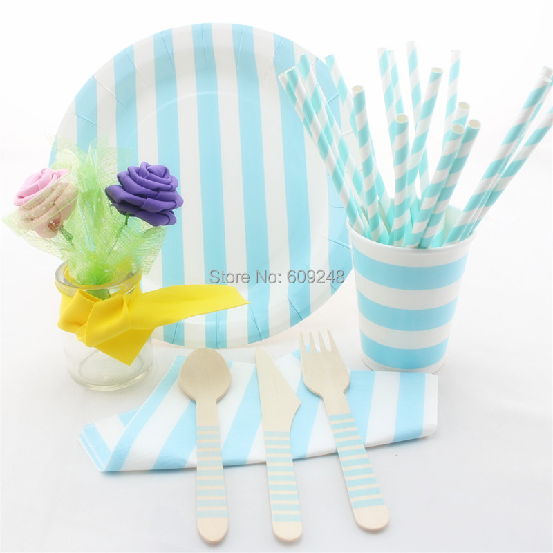 striped light blue party tableware set birthday wedding baby shower