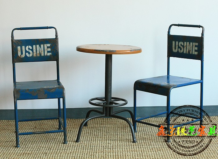 American Village Dining Cafe Retro Iron wood modern minimalist dining tables and chairs computer chair office chair bar(China (Mainland))