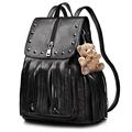 Retro Korean Style Fashion Casual Backpack Women Designer Fringe Rivet Travel Bag Bear Ornament Solid Color