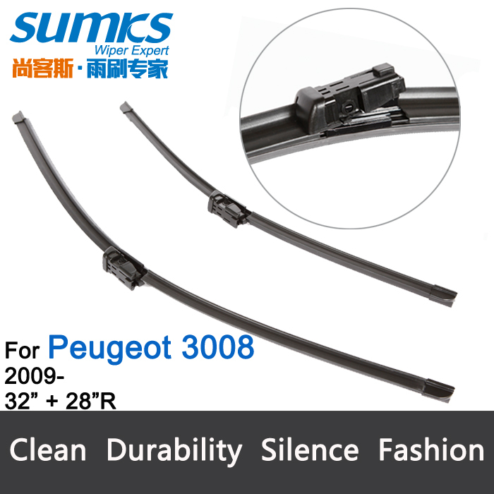 "Car wiper blade for Peugeot 3008, 32""+28"" , rubber Bracketless windscreen wiper blades, wiper, blades, Car accessories, 2 pcs(China (Mainland))"