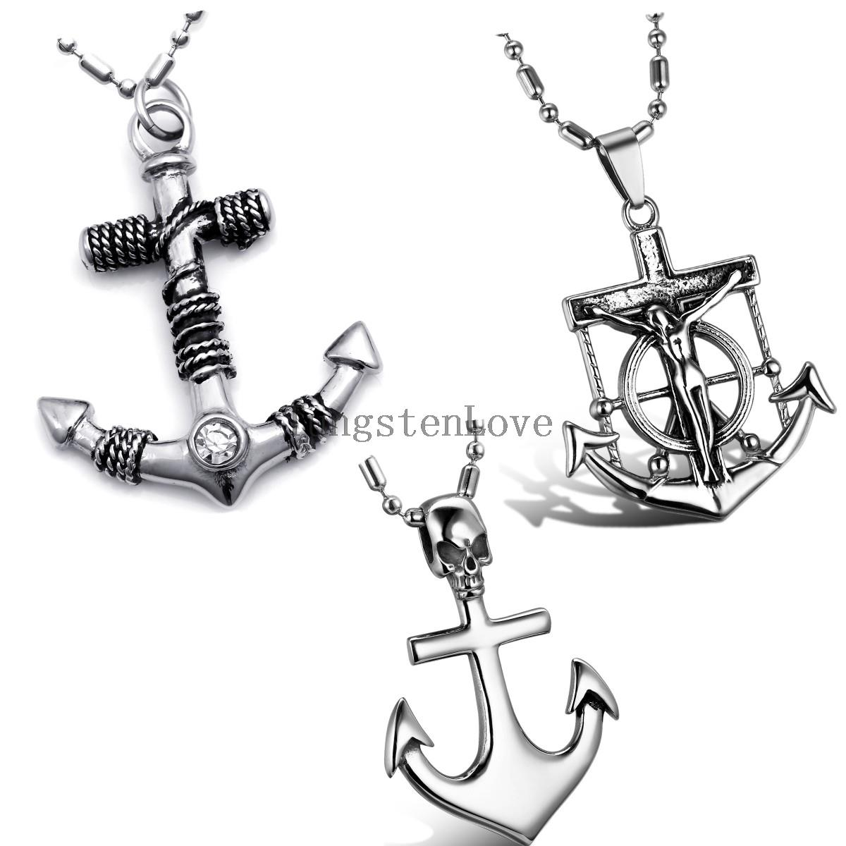 "Wholesale Stainless Steel Pirate Skull Anchor Cross Pendant Necklace Birthday Halloween Gift for Men 22"" Chain collar hombre(China (Mainland))"