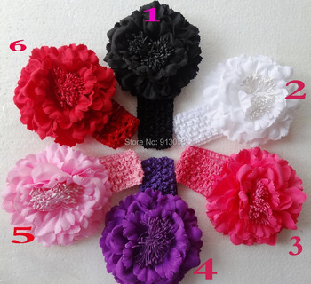 2013 New Peony Flower Headbands 6pcs Flower Hair Clips Baby Headbows Children Head Accessories kids baby hairband