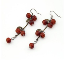 E685 One Direction Fashion New 2016 Brinco Earing Boucle Bijoux Vintage Red Cherry Stud Earrings For Women Earings Girl Jewelry(China (Mainland))