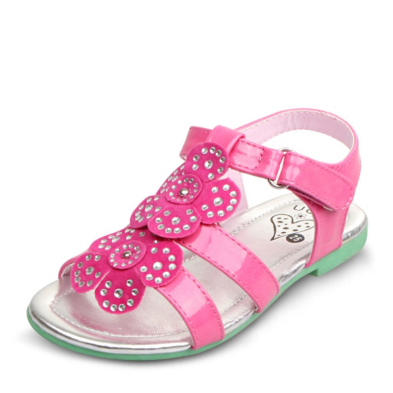 UOVO brand floral patent leather kids girl sandals princess girls sandals 2016 summer girl shoes flat sandaletten size 26-35(China (Mainland))