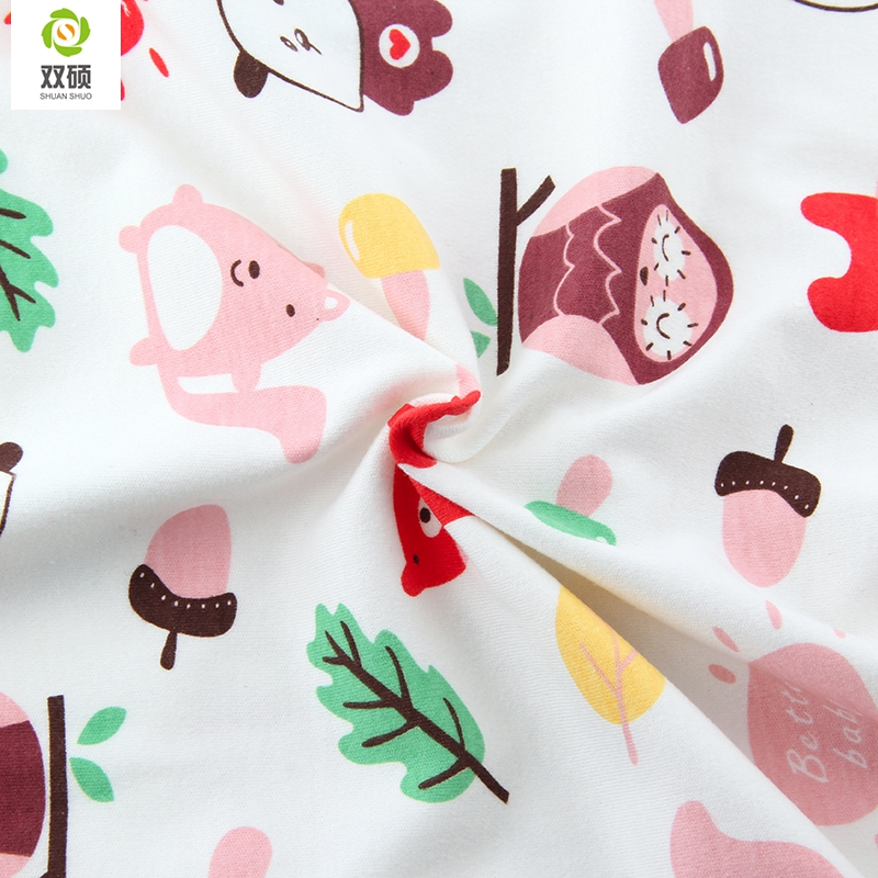 Autumn & Winter Printed Animal Cotton Knitted Fabrics Cotton Baby Fabric For Baby Cloth, Bibs, Hats,Shoes Sleepwear 100*50CM(Hong Kong)