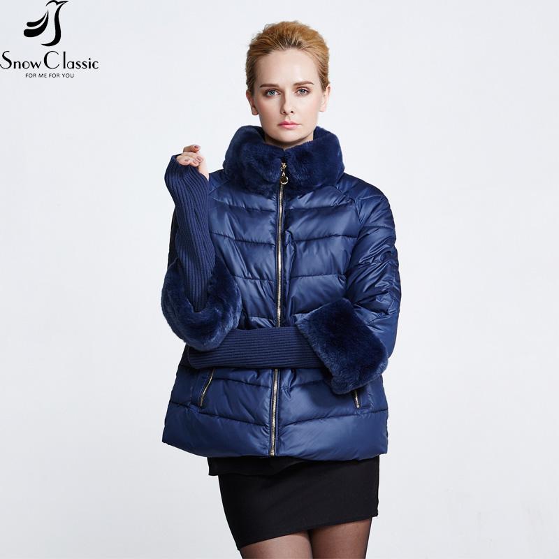 Snowclassic New Down Parka Winter Coat Women 2016 Short Blue Rex Rabbit Fur Collar Parkas For Women Winter 15344(China (Mainland))