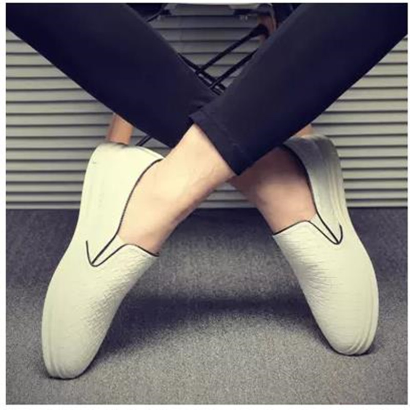 Фотография New Fashion Cool Korean Casual Lasy men Leather shoes,New Brand Breathable Message Slip-On Spring Autumn Soild Flats Shoes men