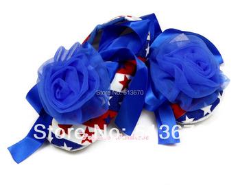 4TH July Royal Blue Rose USA Flag Stripe Star Royal Blue Ribbon Crib Shoes Baby NB-18M MAAS017