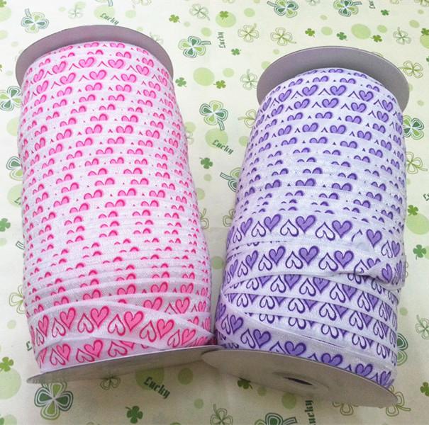 2 colors Lovely Hearts Printed Elastic Ribbon-100yards Free shipping DIY baby headbands materials(China (Mainland))