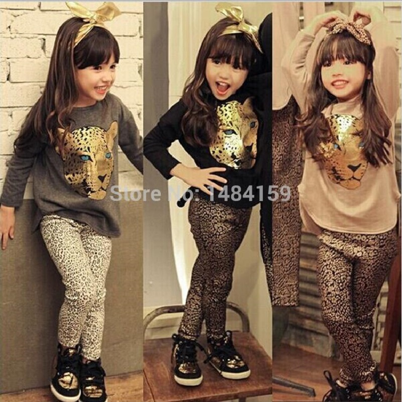 Girls Clothes Toddler Girls Clothing Sets Baby Girls Kids Clothes Children Clothing Full Sleeve T Shirt Leopard Legging Vestidos(China (Mainland))