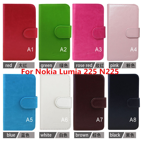Hot Sale New 2015 Fashion Luxury Flip Phone Leather Case For Nokia Lumia 225 N225 Slots 1Pcs/8 Color 1pcs Free+Usb+Dust(China (Mainland))