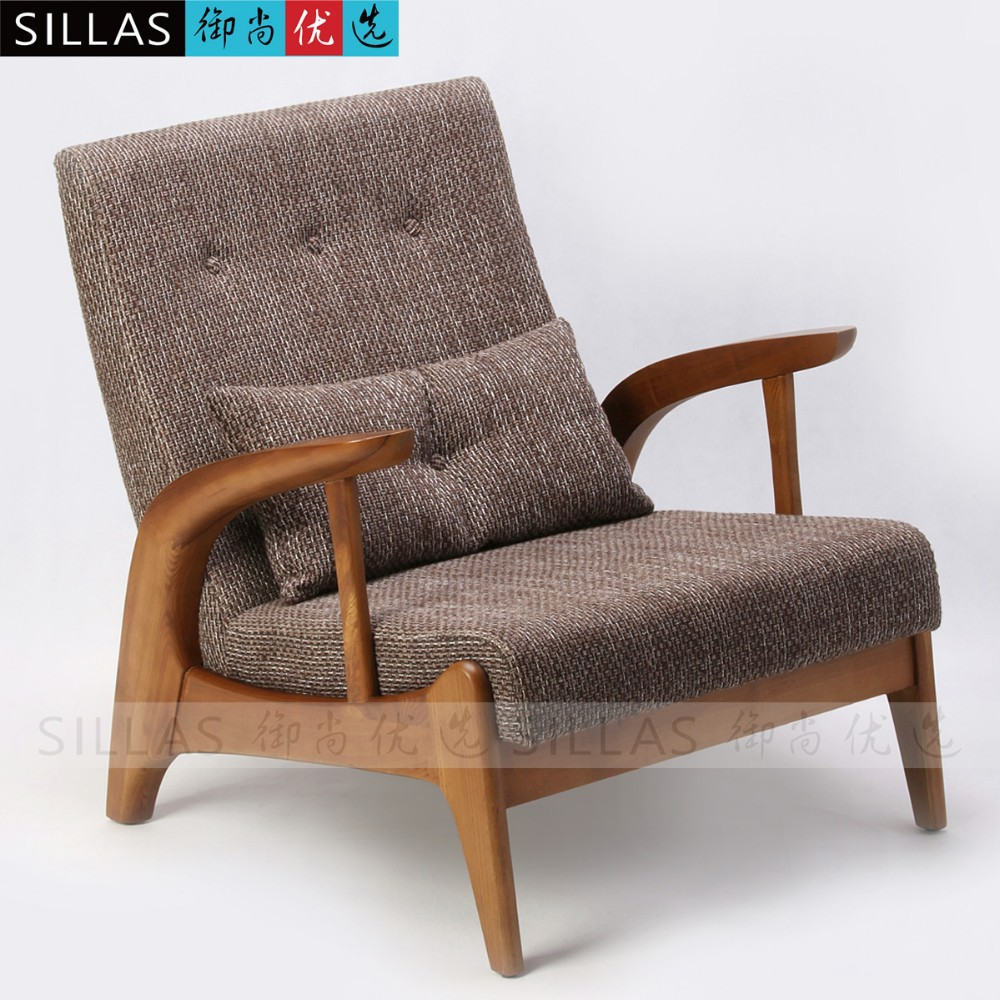 Single Person Sofa Chair Solid Wood Ash Nordic Furniture Leisure Coffee Shop Chair In Living