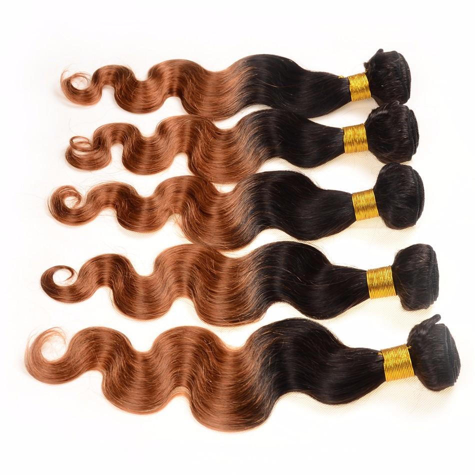Grade 7A black/dark brown Ombre Brazilian Hair Two Tone 1b/30 Brazilian Virgin Hair Body Wave 3pcs Ombre Human Hair Extensions