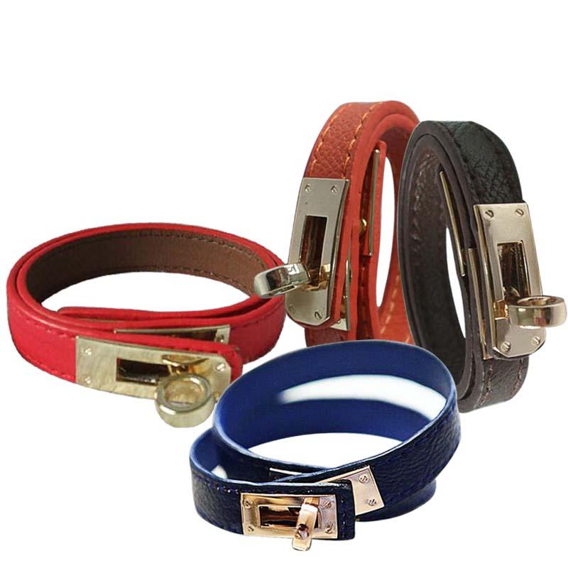 Buckle Leather Bracelet Wholesale H Locomotive Bracelets KELLY Rotary Bangle Valentine Day Gift Charms Braided Wrist Jewelry(China (Mainland))