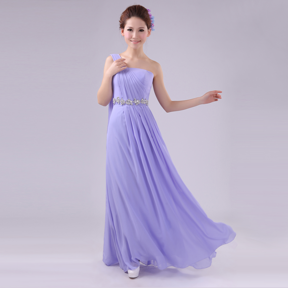 Long Crystal Evening Dress Gown 2015 Formal Dress Draped One Shoulder Wedding Party Dress Floor-length Chiffon New 98(China (Mainland))