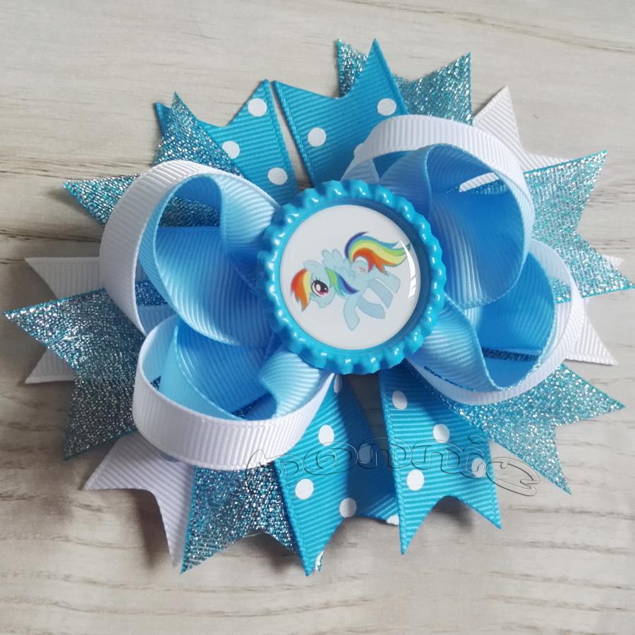 "2pcs/lot 4.5"" Rainbow Dash hair bows with bottle cap high quality hair accessories ribbon made(China (Mainland))"