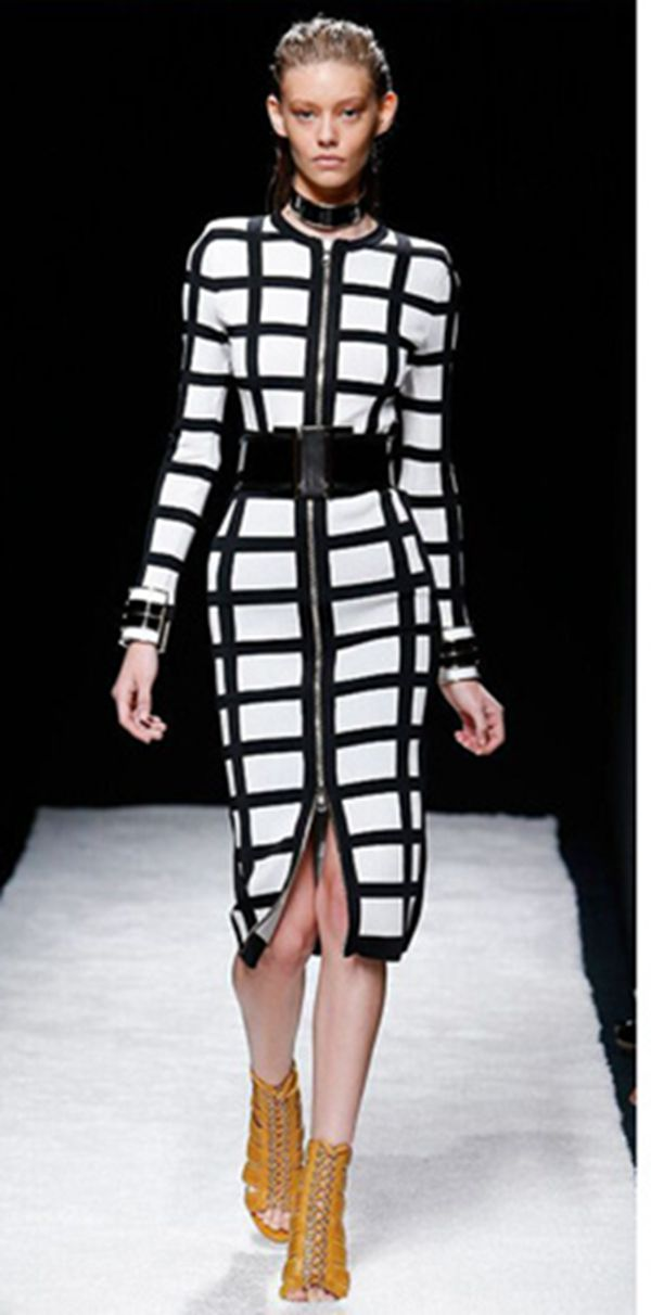 High fashion new front zipper runway dress top quality plaid black and white long sleeve celebrity women bodycon bandage dress