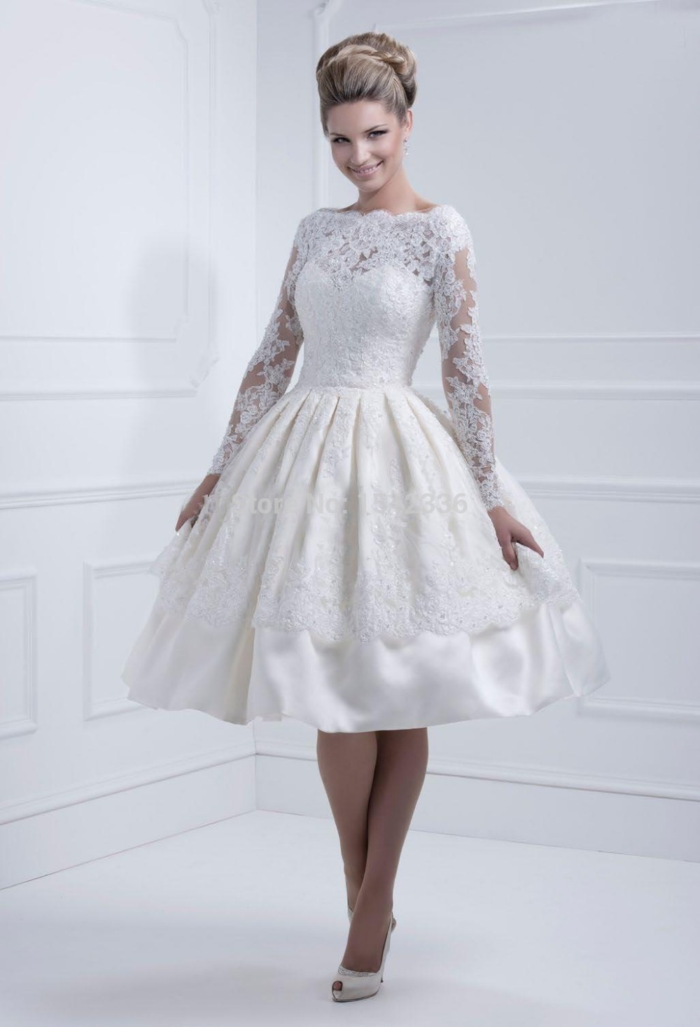 Lace long sleeves wedding dresses 2016 bateau neckline new for Knee length fitted wedding dresses