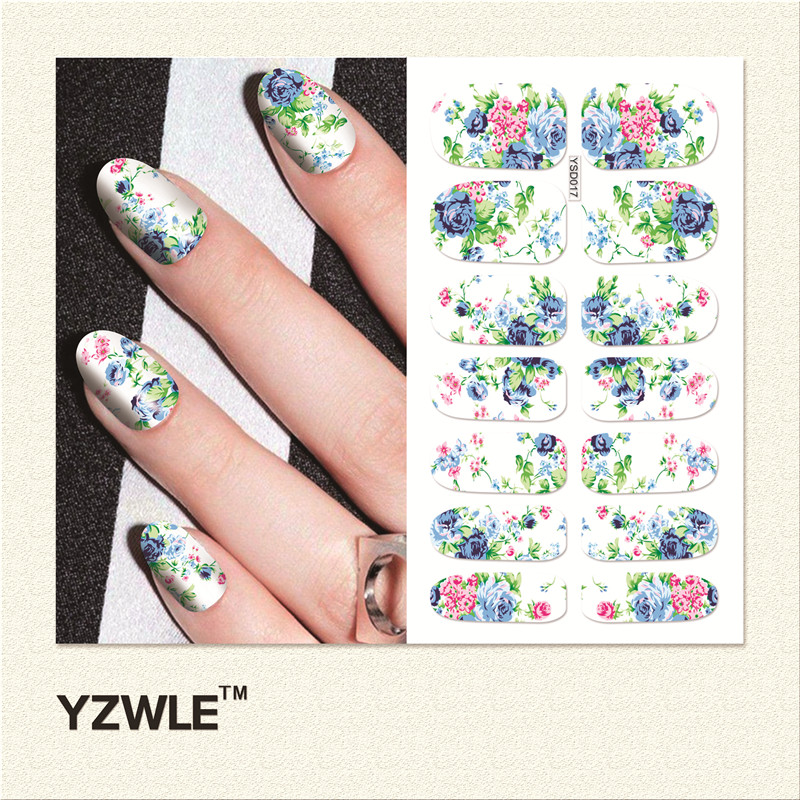 YZWLE 1 Sheet DIY Decals Nails Art Water Transfer Printing Stickers Accessories For Manicure Salon (YSD017)(China (Mainland))
