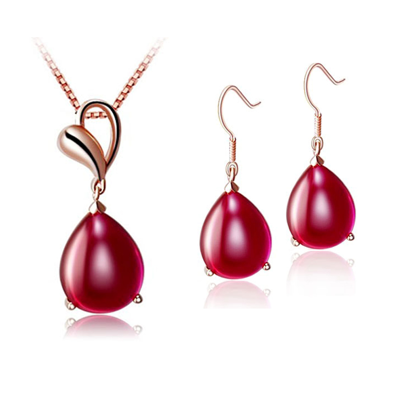 Fashion Water Drop Jewelry Set Rose Gold Pendant Necklace Red Onyx Earring Elegant Women - U King Factory Outlet store