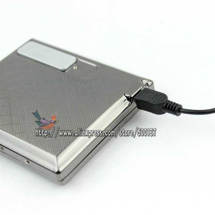 ถูก W/Built-In USB Flamelessอิเล็กทรอนิกส์แบบชาร์จกรณีที่จุดบุหรี่ผู้ถือ