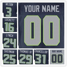 Top Quality 100% Stitched Men's #3 Russell #16 Tyler #24 Marshawn #25 Richard #29 Earl #31 Kam Elite Grey White Blue Football Je(China (Mainland))