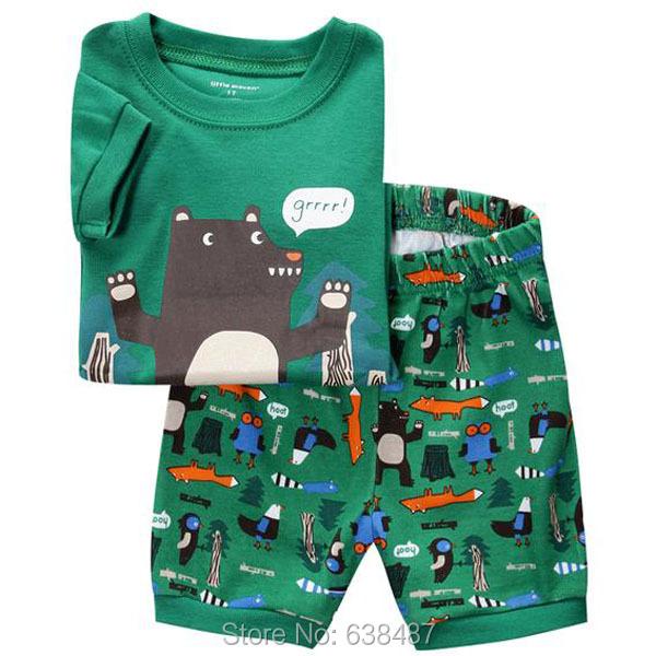 2T~7T New 2015 Quality 100% Cotton Brand Boys Children Suits Kids Clothing Pajamas SetsSleepwear Nightwear Homewear Short Sleeve(China (Mainland))
