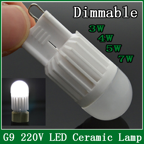 1pcs Mini dimmable G9 LED Lamps 220V 3W 4W 5W 7W Ceramic Crystal Corn Bulbs Chandelier Spot Light Dimmable More Brighter!(China (Mainland))