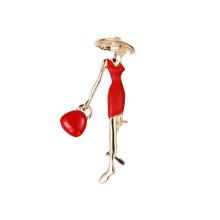 WEIMANJINGDIAN Nuovo Arrivo Rosso o Nero Bella Signora di Modo Brooch Dello Smalto Spilli Gioielli per le Donne Borse Cappelli(China)