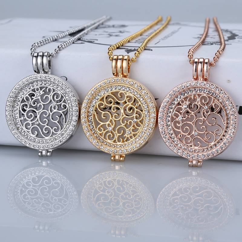 35mm coin necklace sets coin holder fit my 33mm coin pendant disc interchangeable fashion women crystal 80cm bead chain long(China (Mainland))