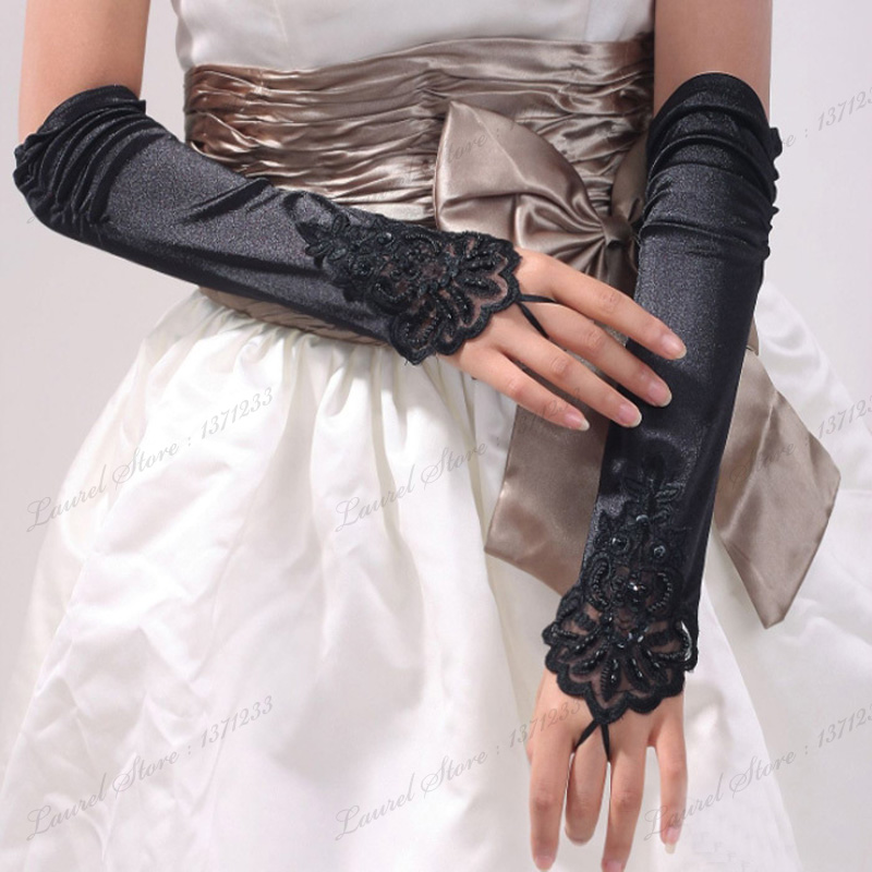 2016 wedding gloves fingerless bridal gloves black white for Wedding dresses with gloves