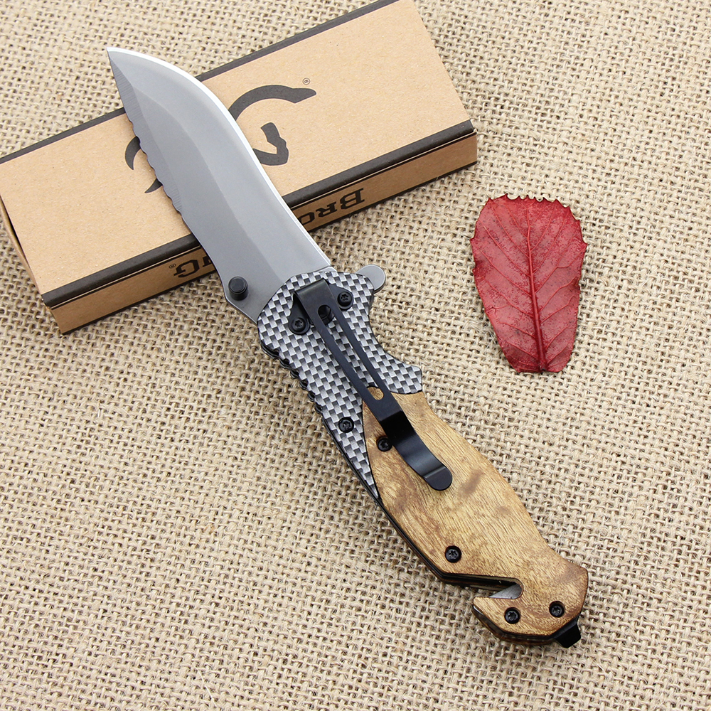Browning X50 Outdoors Folding Knife Steel Blade Wood Handle Tactical Pocket Survival Knives Huntting Fishing EDC Tool With box