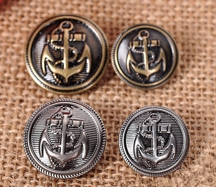 Free shipping 25mm brass button anchor coat buckle 30pcs(China (Mainland))