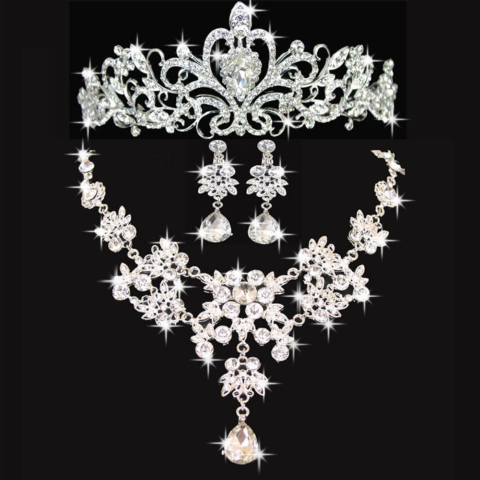 free shipping wedding jewelry set crystal necklace earrings tiara sets for bridal jewelry sets wholesale(China (Mainland))